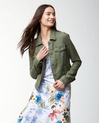 Tommy Bahama Two Palms Linen Raw-edge Jacket - Green