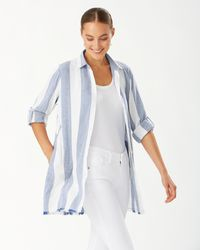 Tommy Bahama Rugby Beach Stripe Boyfriend Shirt - White