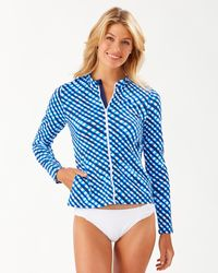 Tommy Bahama Harbour Island Gingham Long-sleeve Rash Guard - Blue