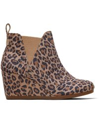 TOMS Suède Kelsey Wedge Ankle Boots Met Luipaardprint - Meerkleurig