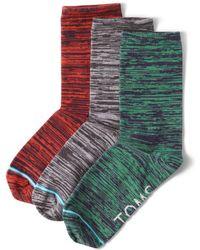 TOMS - 3 Pack Melange Woven Womens Crew Socks - Lyst