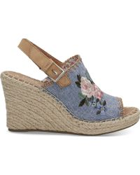 TOMS - Floral Embroidered Chambray Women's Monica Wedges - Lyst