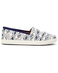 TOMS | Natural Blue Textured Canvas Tile Women's Avalon Slip-ons | Lyst