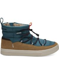 TOMS Trvl Lite Alpine Water-resistant Boot (stellar Blue Quilted/suede) Lace Up Casual Shoes