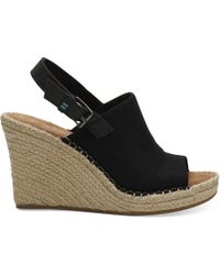 TOMS Black Oxford Women's Monica Wedges