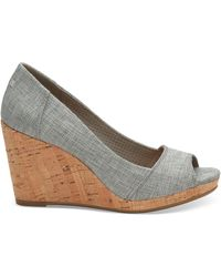 TOMS Drizzle Gray Metallic Woven Women's Stella Peep-toe Wedges