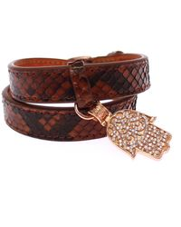 Nialaya Cz Hamsa Eye 18k Gold 925 Silver Bracelet Brown Nia10153