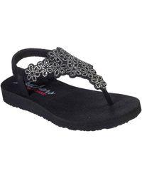 Skechers Meditation Floral Lover Womens Toe Post Sandals - Black