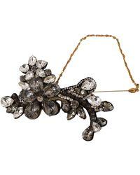 Dolce & Gabbana Lapel Pin Chain Clear Grey Crystal Flower Brooch Gold Smyk1008 - Metallic
