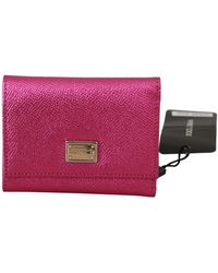 Dolce & Gabbana Pink Shiny Leather Trifold French Flap Majolica Wallet