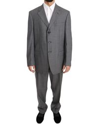 Z Zegna Grey Striped Two Piece 3 Button Wool Comfort Suit