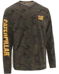 Caterpillar Unisex Trademark Banner Ls T-shirts Night Camo 31681 - Green