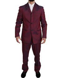 Romeo Gigli Two Piece 3 Button Patterned Suit Bordeaux Kos1437 - Purple