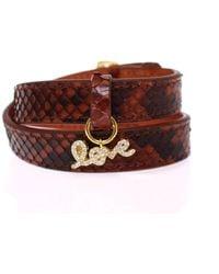 Nialaya Snakeskin Cz Love 18k Gold 925 Silver Bracelet - Multicolour