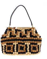Dolce & Gabbana Sara Raffia Leather Pebbled Shoulder Bag Black Mom24448