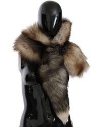 Dolce & Gabbana Neck Wrap Cover Collar Tail Fur Scarf Brown Smy2220
