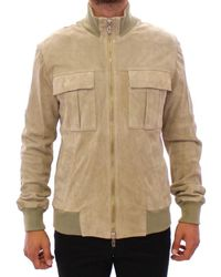 John Galliano Suede Leather Jacket Beige Phh10027 - Natural