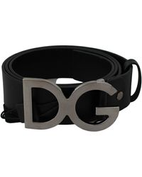 Dolce & Gabbana Black Leather Logo Metal Buckle S Belt