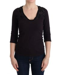 CoSTUME NATIONAL V-neck Cotton T-shirt Purple Tui10015 - Black