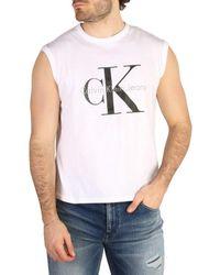 Calvin Klein White Ck Logo-print Sleeveless T-shirt