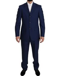 Romeo Gigli Blue Solid Wool Two Piece 3 Button Suit
