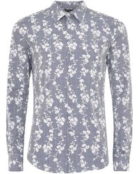 TOPMAN - Blue And White Floral Stripe Long Sleeve Shirt - Lyst