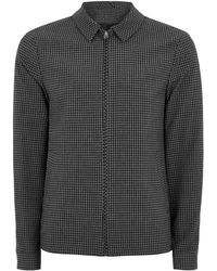 TOPMAN - Gray Gingham Zip Through Harrington Jacket - Lyst