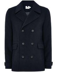 TOPMAN Pea Coat With Wool - Blue