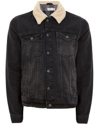 TOPMAN - Black Faux Shearling Collar Jacket - Lyst