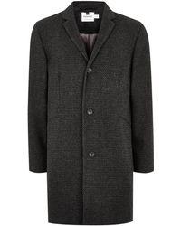TOPMAN - Grey Textured Overcoat With Wool - Lyst