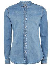 TOPMAN - Bleach Denim Stretch Skinny Shirt - Lyst