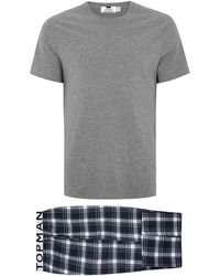 TOMS - Navy And White Checked Pyjama Set - Lyst