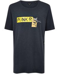 TOPMAN - Punk Royal Navy Taping T-shirt - Lyst