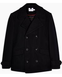 TOPMAN Navy Faux Fur Pea Coat - Blue