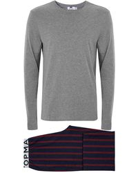 TOMS - Red And Navy Stripe Pyjama Set - Lyst