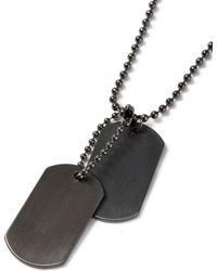 TOPMAN - Gunmetal Dog Tag Necklace - Lyst