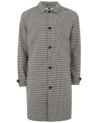 TOPMAN - Navy Check Single Breasted Mac - Lyst