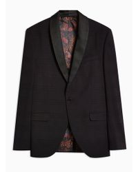 TOPMAN - Black Check Skinny Tuxedo Blazer - Lyst