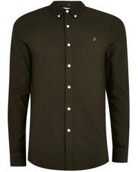 TOPMAN - Farah Green 'brewer' Slim Long Sleeve Shirt - Lyst