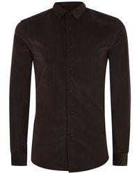 TOPMAN - Brown Corduroy Muscle Fit Long Sleeve Shirt - Lyst