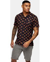 Bellfield Geometric Print Revere Shirt - Black