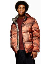 TOPMAN - Reversible Camouflage Print Puffer Jacket - Lyst