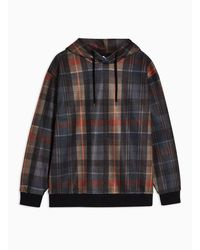 TOPMAN Brown Brushed Check Hoodie