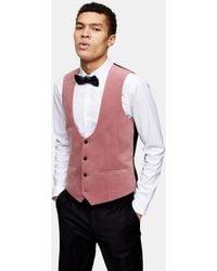 TOPMAN Velvet Skinny Fit Single Breasted Suit Waistcaot - Pink