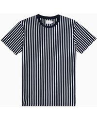 TOPMAN And White Vertical Stripe T-shirt - Blue