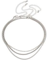 TOPMAN Silver Layered Choker - Metallic