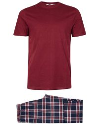 TOMS - Burgundy Check Pyjama Set - Lyst