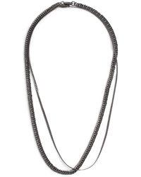 TOPMAN Gunmetal Layered Necklace - Gray
