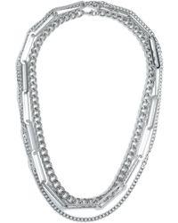 TOPMAN Silver Layered Necklace - Metallic