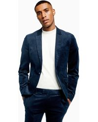 TOPMAN Corduroy Super Skinny Fit Suit Blazer With Peak Lapel - Blue